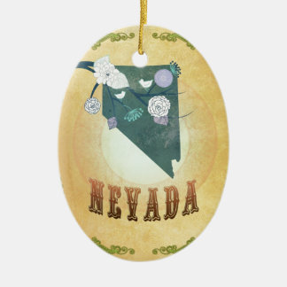 Nevada Map With Lovely Birds Ceramic Oval Decoration