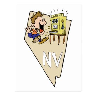 Nevada NV State Map Gambler Jackpot Cartoon Post Cards