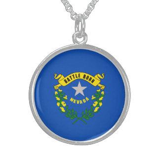 Nevada State Flag Design Round Pendant Necklace