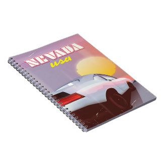 Nevada USA Setting sun sports car Spiral Notebook