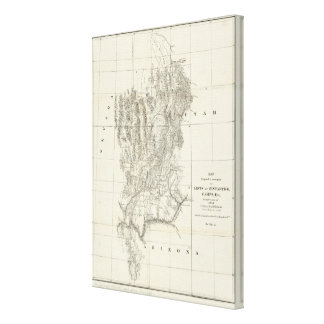 Nevada, Utah, and Arizona Map Canvas Print