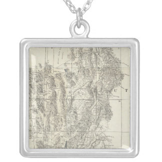 Nevada, Utah, and Arizona Map Silver Plated Necklace