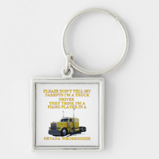NEVADA WHOREHOUSE Silver-Colored SQUARE KEY RING