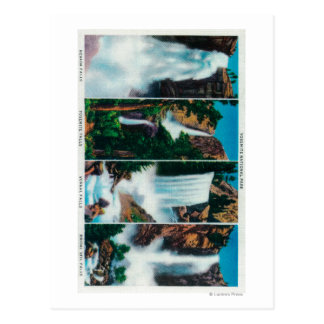 Nevada, Yosemite, Vernal, and Bridal Veil Falls Postcard