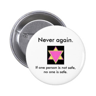 Never again. 6 cm round badge