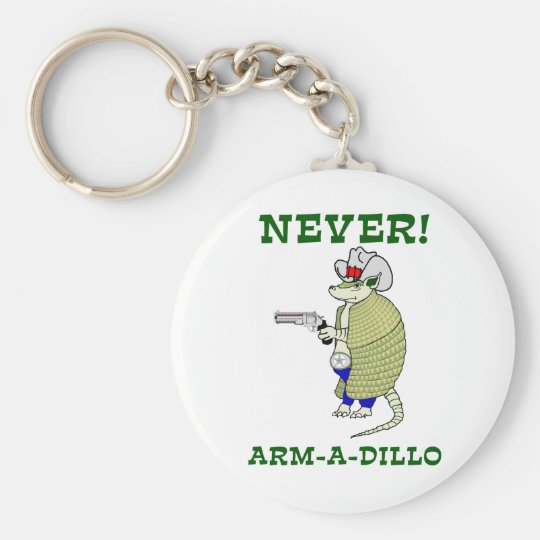 Never Arm-A-Dillo Basic Round Button Key Ring