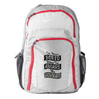 Never Bored ABOARD my SNOWBOARD (Blk) Backpack