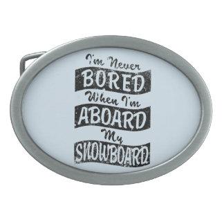 Never Bored ABOARD my SNOWBOARD (Blk) Belt Buckles
