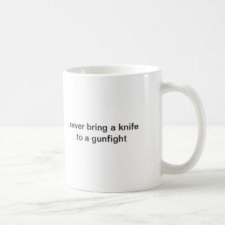 never bring a knife to a gunfight basic white mug