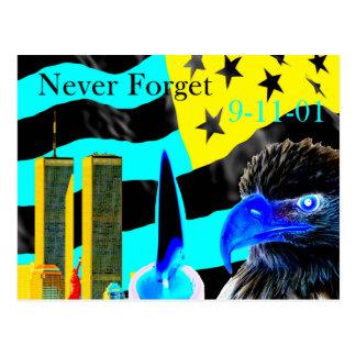 Never Forget 9-11-01 Negative Postcard