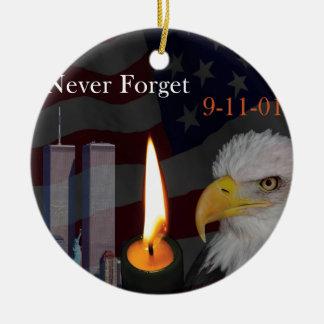 Never Forget 9-11-01 Round Ceramic Decoration