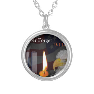 Never Forget 9-11-01 Round Pendant Necklace