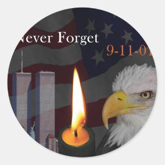 Never Forget 9-11-01 Round Sticker