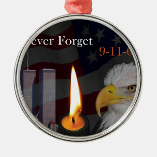 Never Forget 9-11-01 Silver-Colored Round Decoration