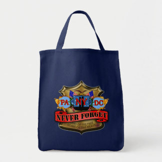 Never Forget 9/11 Badge Style Design Tote Bag