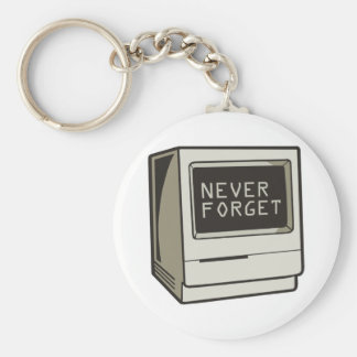 Never Forget Computer Basic Round Button Key Ring