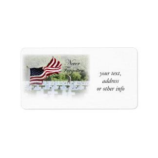 Never Forgotten - Memorial Day Address Label