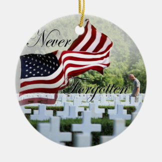 Never Forgotten - Memorial Day Round Ceramic Decoration