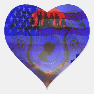 Never Forgotten POW-MIA Heart Sticker