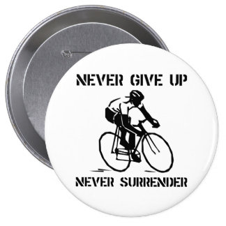 Never Give Up Biker 10 Cm Round Badge