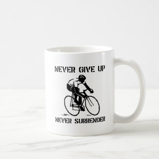 Never Give Up Biker Basic White Mug