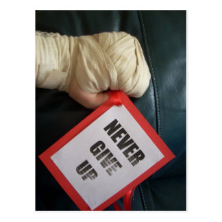 Never Give Up Boxing Glove Postcards