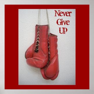 Never Give Up, Boxing Gloves Framed Print