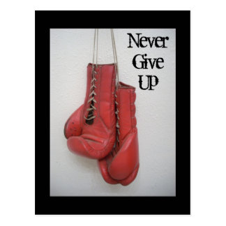 Never Give Up Boxing Gloves Postcard