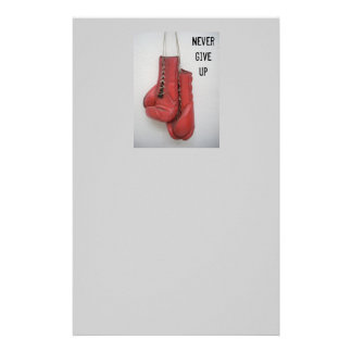 Never Give Up Boxing Gloves Stationary Custom Stationery