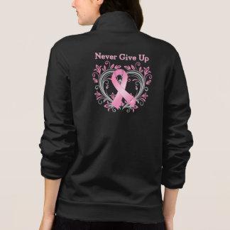 Never Give Up Breast Cancer Awareness Ribbon Printed Jackets