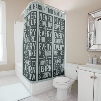 NEVER GIVE UP custom name shower curtain