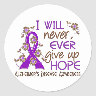 Never Give Up Hope 4 Alzheimer's Disease Round Sticker