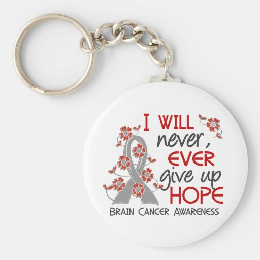 Never Give Up Hope 4 Brain Cancer Basic Round Button Key Ring