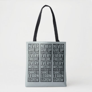 NEVER GIVE UP motivational bags