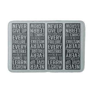 NEVER GIVE UP motivational bath mat