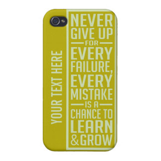 Never Give Up motivational cases iPhone 4/4S Cover