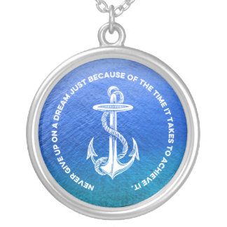 Never Give Up On Dream Blue Ocean Vintage Anchor Custom Necklace