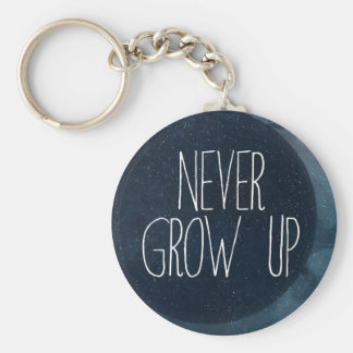 Never grow up basic round button key ring