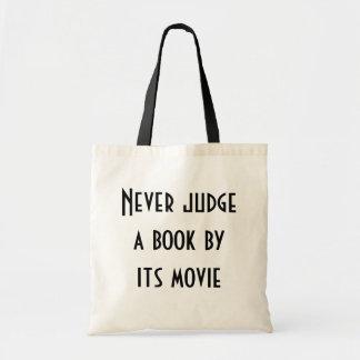 Never judge a book budget tote bag