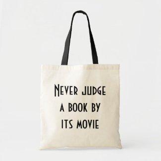 Never judge a book tote bag