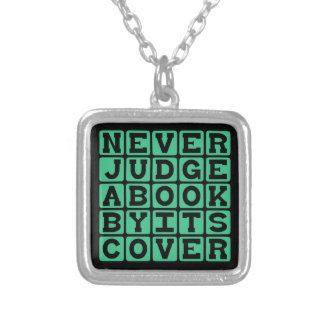 Never Judge A Book By Its Cover Square Pendant Necklace