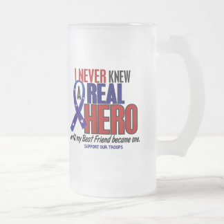 Never Knew A Hero 2 Best Friend (Support Our Troop Frosted Glass Beer Mug