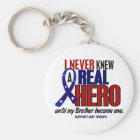 Never Knew A Hero 2 Brother (Support Our Troops) Key Ring