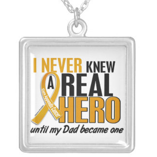 Never Knew a Hero 2 Dad Appendix Cancer Square Pendant Necklace
