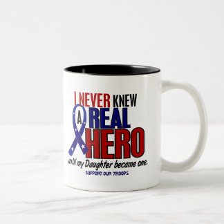 Never Knew A Hero 2 Daughter (Support Our Troops) Two-Tone Coffee Mug