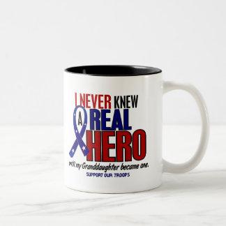 Never Knew A Hero 2 Granddaughter Military Two-Tone Coffee Mug