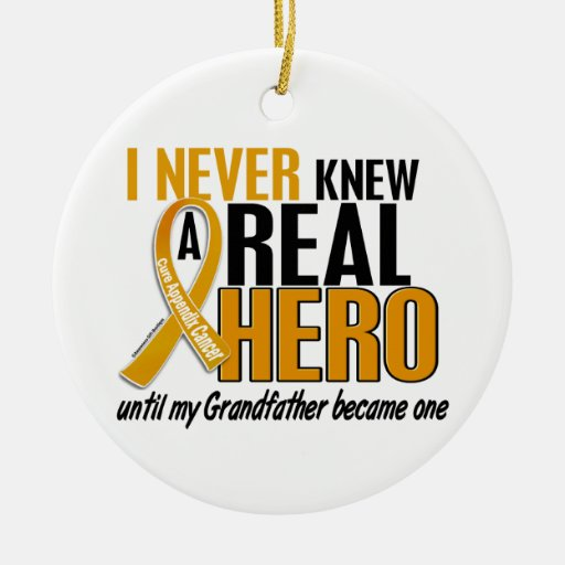 Never Knew a Hero 2 Grandfather Appendix Cancer Christmas Tree Ornaments
