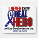 Never Knew A Hero 2 Grandson (Support Our Troops) Mousemats