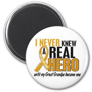 Never Knew a Hero 2 Great Grandpa Appendix Cancer Fridge Magnet