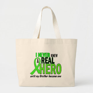 Never Knew A Hero 2 LIME GREEN (Brother) Large Tote Bag